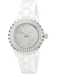 Akribos XXIV Womens AKR457WT Lady Diamond Collection Crystal-Accented Watch
