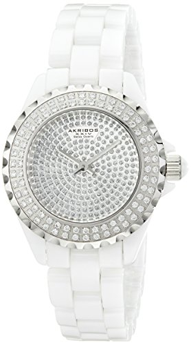 Akribos XXIV Women s AKR457WT Lady Diamond Collection Crystal-Accented Watch
