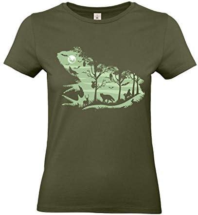 Smilo & Bron damski T-shirt z motywem Froggy Night 2 z nadrukiem: Odzież