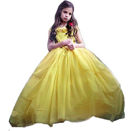 HotDresses Belle Princess Costume Halloween Party Fancy Dresses Ball Gown Costume for Little Girl (5, (Belle Ball Dresses)