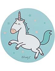 Mr Wonderful Alfombrilla para Ratón - Redonda, con Diseño de Unicornio con Estrellas Azul