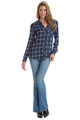 Elan Womens Long Sleeve Button Down Top Large Navy