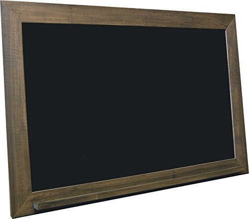 billyBoards 24x36 chalkboard. Brown barnwood frame finish. School style. With chalk tray. Black porcelain writing panel. 2.5'' wood frame. by billyBoards