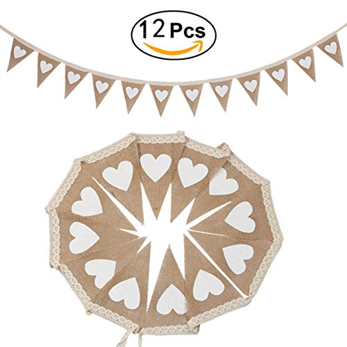 Printed Garland - 12Pieces Burlap Triangle Banner Christmas, Wedding Party Lace Printed Heart Garland Triangle Banner Bridal Shower Baby Shower Party Decoration(10ft Heart Banner)