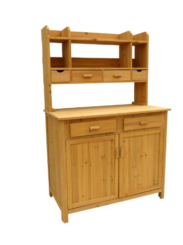 Leisure Season Wooden Gardening Potting Bench with Multiple Storage Draws & Cabinets