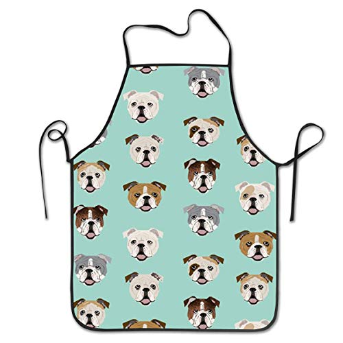 COLOMAKE Women Girls Polyester Retro Adjustable Stupid Funny English Bulldog Aprons for Kitchen Cooking Baking