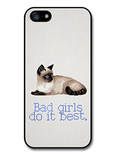 Bad Girls Do it Best Cross Stitch Quote Cute Cat Hipster coque pour iPhone 5 5S