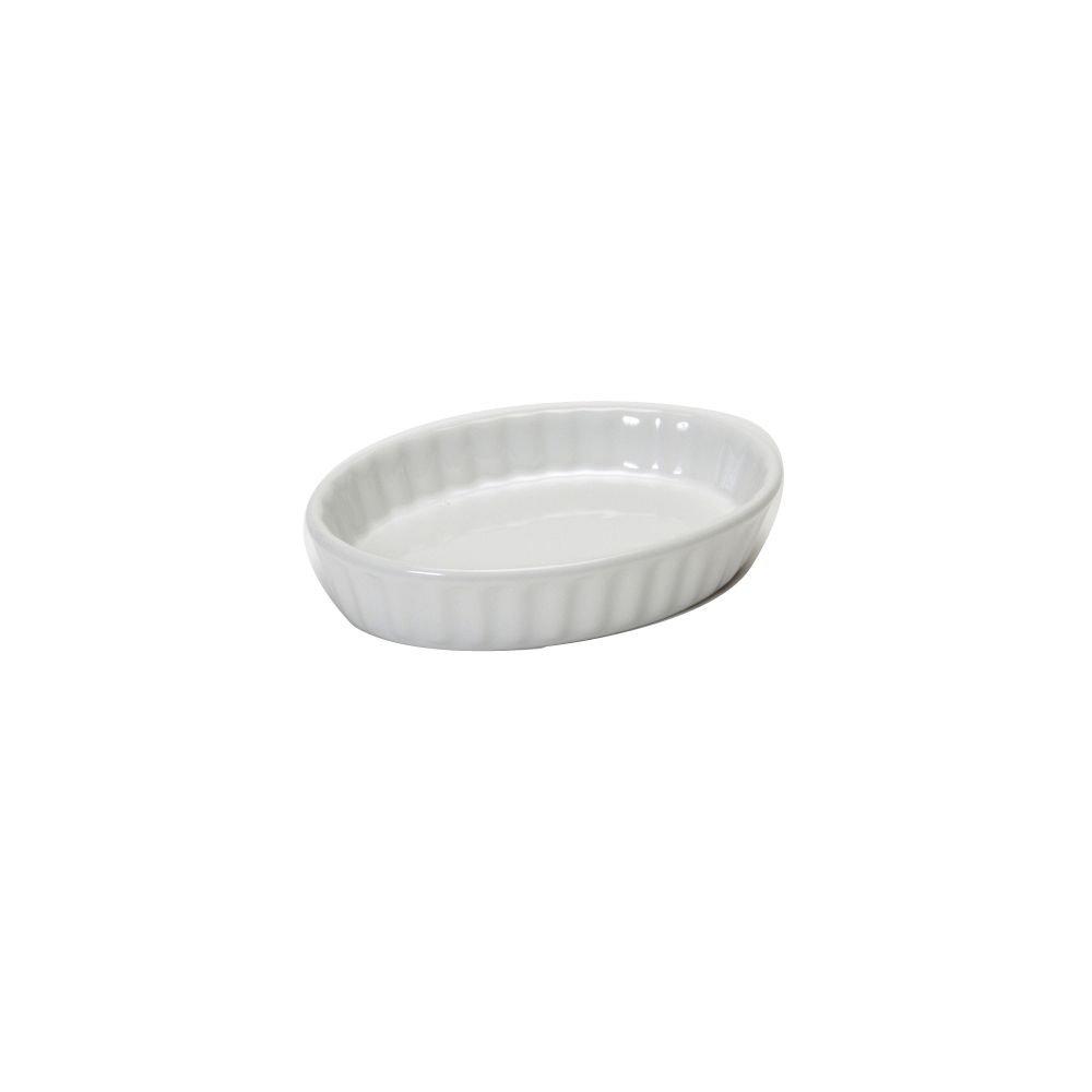 Tuxton BWK-0502 5 Oz. White Oval Fluted Creme Brulee Dish - 12 / CS by Tuxton China (Image #1)