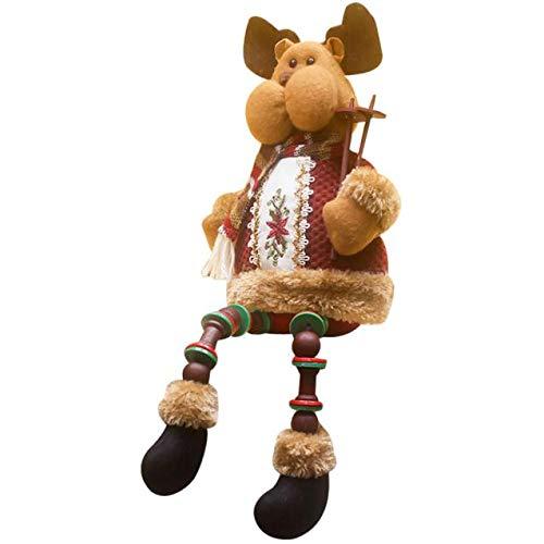 baskuwish Christmas Decor Adorno navideño de Papá Noel de Porcelana sentada para muñeco de Nieve, do, 32 * 13cm