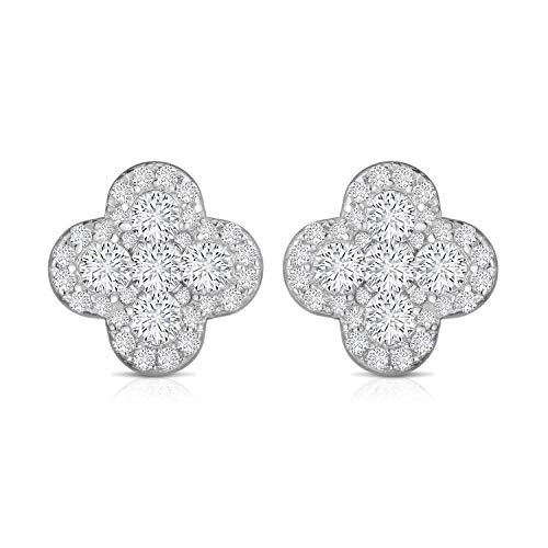 Unique Royal Jewelry 925 Sterling Silver Invisible Set Cubic Zirconia Four Leaf Clover Designer Post Pierced Cluster Earrings. (Rhodium-Plated Sterling Silver)