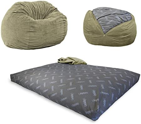 Swell Cordaroys Chenille Bean Bag Chair Convertible Chair Folds From Bean Bag To Bed As Seen On Shark Tank Moss Queen Size Ncnpc Chair Design For Home Ncnpcorg