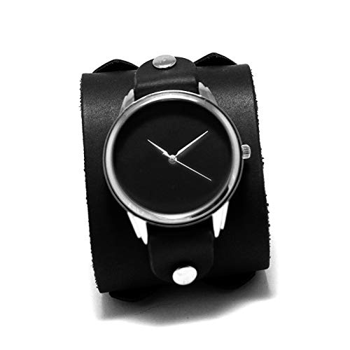 Minimalist Matte black cuff watches on genuine leather pad band double buckled Johnny Depp style