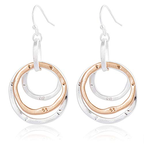 D.Rosse 3 Circle Handmade Geometric Creative Unique Copper Silver plated Boho Antiqued Earrings for Women (Silver)
