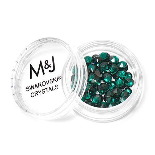 Swarovski Crystals Flat Back Rhinestones - 2088 Xirius Rose Round Foil Backed - SS20 (4.6mm-5mm) - Emerald 205 (Green) (Green Swarovski Glass)