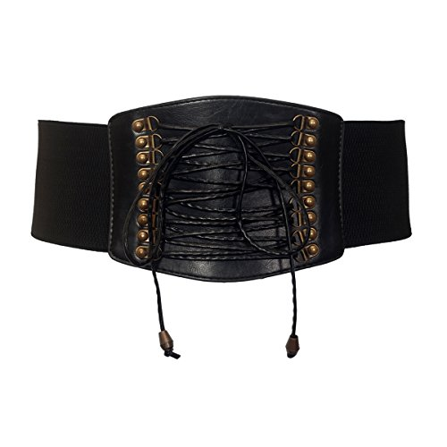 eVogues Plus size Faux Leather Corset Look Elastic Belt Black - One Size - Plus Leather Size Corsets