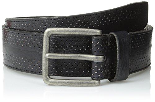 John Varvatos Men's 38 mm Dimpled Leather Harness Buckle Belt, Black, 40
