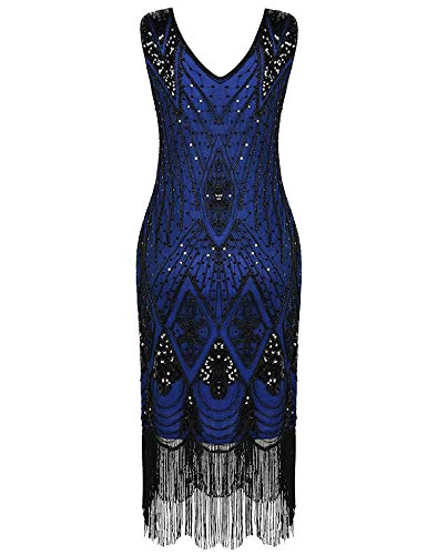 High end 1920s Flapper Dress Great Gatsby Party Evening Sequins Fringed Dresses Gown,E Dress,S,