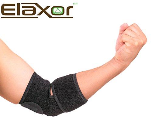 Elaxor Adjustable Elbow Support Brace, Black, One Size, Breathable Neoprene (Batman Bracers)