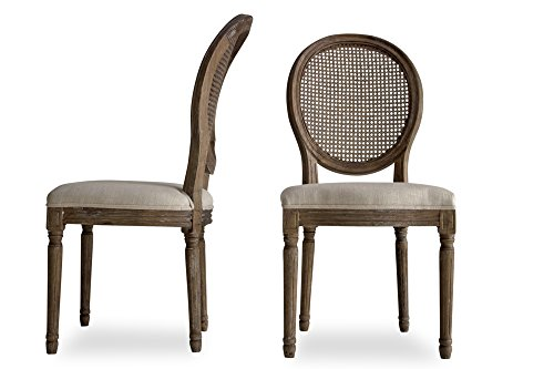 CARINA Louis French Country Upholstered Dining Chairs - Cane Back Dining Room Chairs - Beige Linen Fabric - Set of 2 - 2 Cane Back Chairs