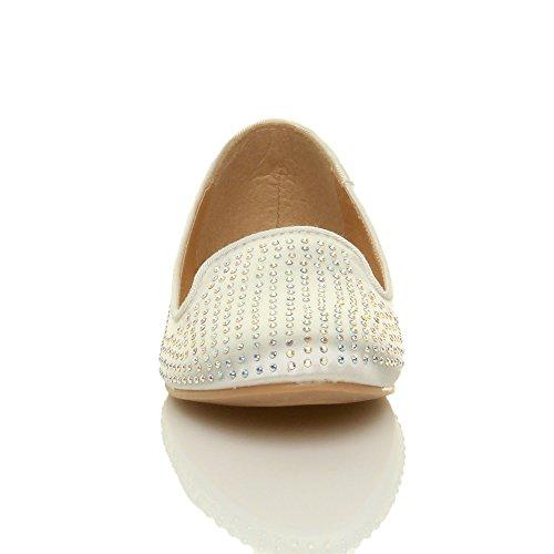 Abend Prom Damen Hochzeit Schuhe Größe Ajvani Diamante Elfenbein Dolly Braut Pumps Flache Damen Ballerina W6Xq6wnA0