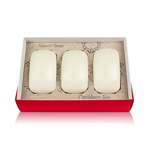 Johns Bay Rum (Bay Rum Soap Gift Set for Men by St Johns. 3 Bay Rum Scented Luxury 3X Milled Bath Soap Bars . Enjoy a creamy Bay Rum scented lather. Our Best Bath and Body Soap for Men. Value Priced. Made in U.S.A.)