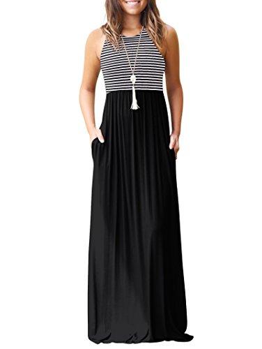 Casual para Negro sin Mujer Bolsillos Mangas Rojeam Largo Vestido con PUnq1II0