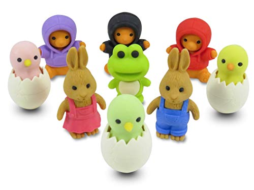 Daiso Japan Easter Adventure Japanese Mini Puzzle Erasers Rabbits Chicks Bears Novelty Collectibles Party Favors School Supplies (9 Piece Set)
