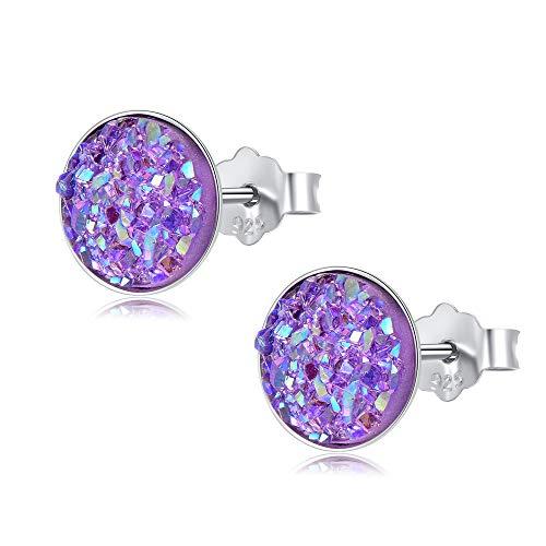 EVERU Sterling Silver Round Druzy Stud Earrings, 8 Colors Options, 8mm (Purple)