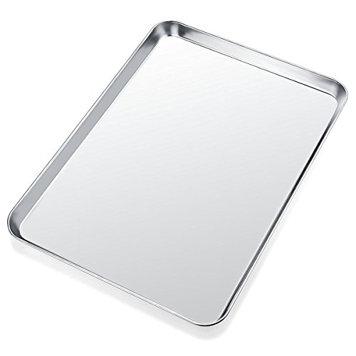 Easy Sheet (Baking Sheet, Yododo Stainless Steel Baking Pan Cookie Sheet, Rectangle Size 16 x 12 x 1 inch, Healthy & Non Toxic, Rust Free & Less Stick, Easy Clean & Dishwasher Safe)