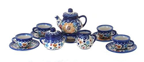 Polish Pottery Butterfly Miniature Tea Set (Polish Pottery Miniature Tea Set)