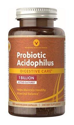 Vitamin World Probiotic Acidophilus 1 Billion, Helps Maintain Healthy Intestinal Balance 100 capsules