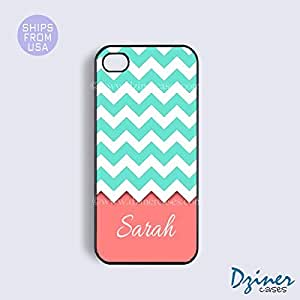 Monogrammed iPhone 5 5s Case - Turquoise Coral Chevron Pattern iPhone Cover
