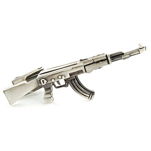 The Smart Man Novelty Antique Silver AK47 Rifle Gun Shaped Tie Clip for Mens Gift