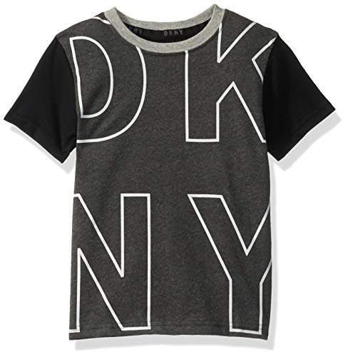 DKNY Boys' Little Short Sleeve T-Shirt, Big Logo Dark Heather, ()