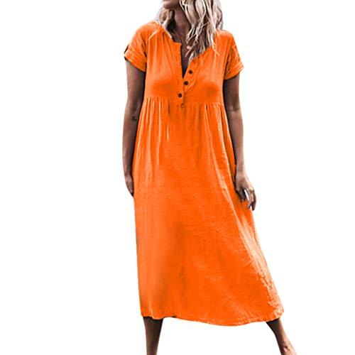 iHPH7 Women's Summer Dress Casual Solid V-Neckline Roll