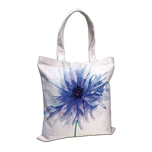 Personalized Petite Tote Bag - iPrint Cotton Linen Tote Bag, Watercolor Flower,Faded Single Large Petite Cornflower on Plain Background Mother Earth Paint,Navy White Shopping Camping School Casual Pocket