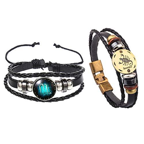 Noharu Vibe 2 Pieces Zodiac Bracelet 12 Constellation Horoscope Bracelet Woven Alloy Leather Cuff Bangle Birthday Gifts