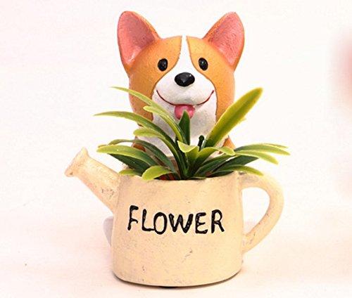 Kettle Planter - SWONVI (TM) Decorative Dog Design White Mini Resin Plant Flower Pot Succulent Planter w/ Saucer Have drainage hole (Dog and Kettle)