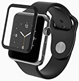 Remembrand 9H+ High Definition Tempered Glass Compatible for Apple Watch Series 1/2/3 42mm (Black)-Edge to Edge Full Screen Coverage