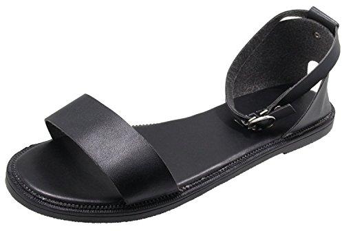 HooH Flats Femmes Boucle Sandales Toe Peep Noir Simple qqvwT4F