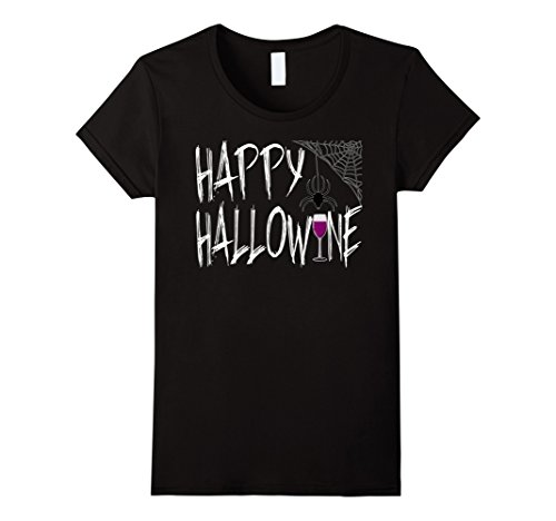 Womens Funny Halloween T-shirt Happy Hallow Wine on October 31st Wi Medium Black