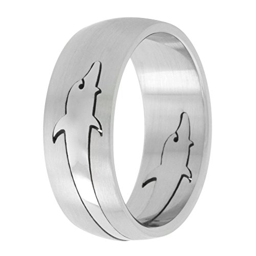 Surgical Stainless Steel 8mm Dolphins Wedding Band Ring Domed Cut-out Insert, size 8 Cut Out Band Ring