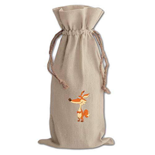 - Fox Crossing Arms Cotton Canvas Wine Bag, Cotton Drawstring Wine Pouch Natural