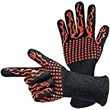 1 Pair Barbecue Tools BBQ Mitts Oven Mitts Gloves BBQ Grilling Cooking Gloves Extreme Heat Resistant Gloves Long For Extra Forearm Protection Red Silicone Insulated