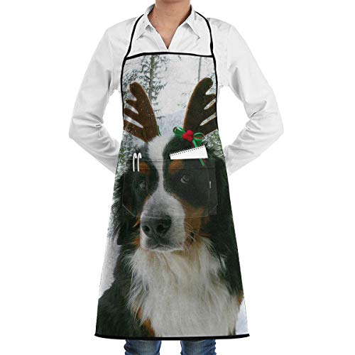 JNSHO-G Restaurant Aprons with Pockets, Bernese Mountain Dog Christmas Reindeer Bib Apron for -