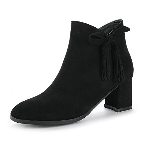 1TO9 Resistant Suede Not Floral Rubber Warm Closed Boots Heel Lining Zip Top Track Black Water Boots Low Toe MNS02586 High Urethane Womens rPOwr