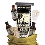 Deluxe Grill Master BBQ Sauce Gift Set Featuring Stubbs Gourmet Barbecue Sauce, Cedar Wood Plank, Skewers, Barbecue Mop, Hickory Woods Chips Perfect for Smoker, Gas, or Propane Grill