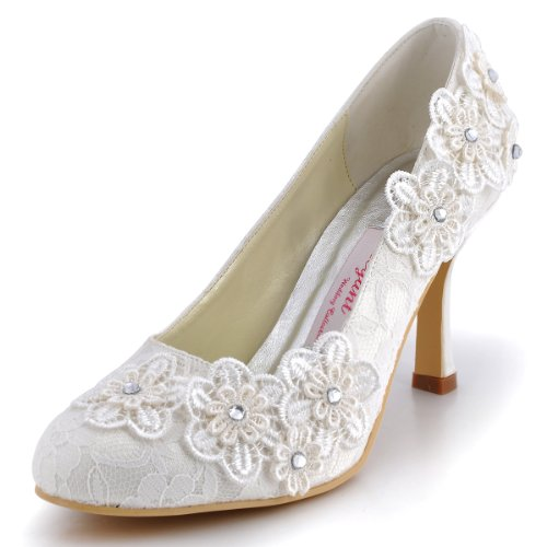ElegantPark EP11099 Women Vintage Closed Toe Pumps High Heel Flowers Lace Wedding Bridal Dress Shoes Ivory US 10