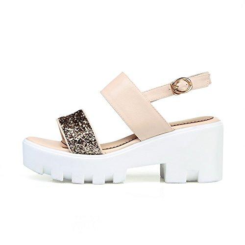 AgooLar Women's Open Toe Buckle Blend Materials Solid High Heels Sandals Beige ZbgCt