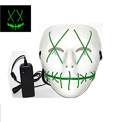 ZGUO Purge Halloween Led Light up Costumes Glow Stick Party City Mask for Parties Festival Costume